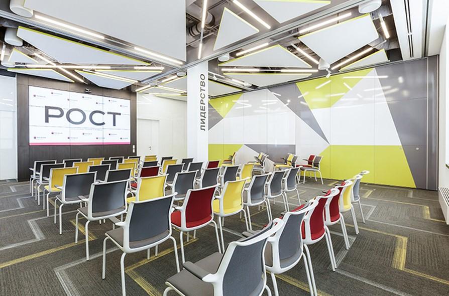 Раздвижные перегородки для зонирования в конференц-зале